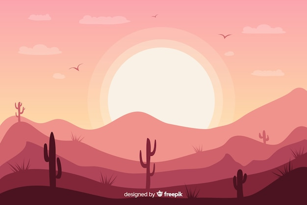 Pink desert landscape background with cactus and sun
