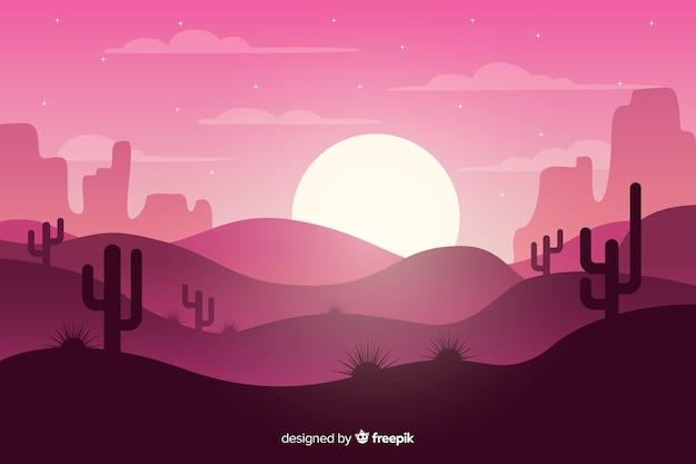 Pink desert landscape with moon