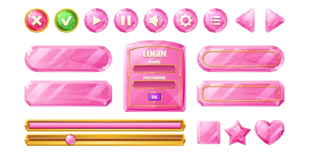 Pulsanti di diamanti rosa per la progettazione dell'interfaccia utente nel lettore video di gioco o nel set di cartoni animati vettoriali del sito web di...