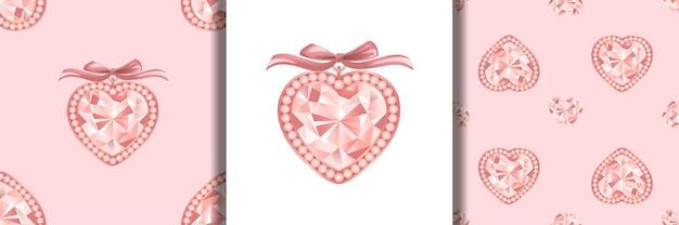 ピンクダイヤモンドのジュエリープリントと真珠とリボンがセットされたシームレスなパターン