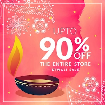 Pink discount voucher for diwali