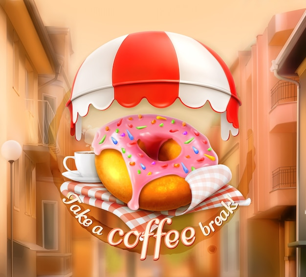 Pink donut and cup of coffee, outdoor sign, street view illustration
