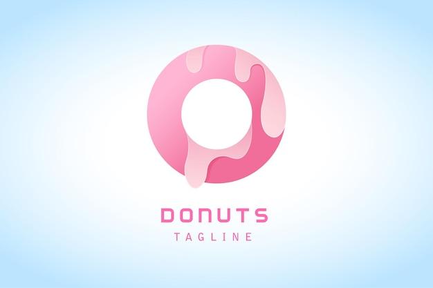 チョコレートグラデーションロゴテンプレートとピンクのドーナツ