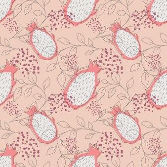 선형 잎 핑크 드래곤 과일 pitaya 원활한 패턴 벡터 일러스트 레이 션 무한 패턴