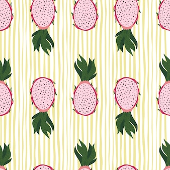 Розовые силуэты фруктов дракона бесшовные модели. желтый полосатый фон.