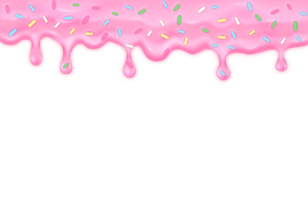 Pink dripping glaze with sprinkles