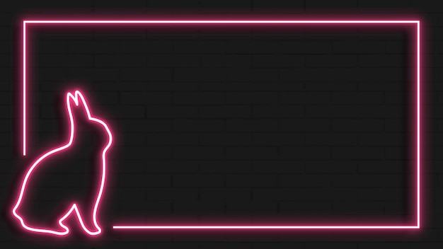 Cornice al neon coniglietto pasquale rosa su sfondo nero vettore