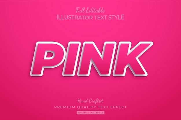 Pink editable 3d text style effect premium