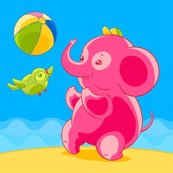 Pink elephant and bird in cartoon style playing ball on the sandy beach.