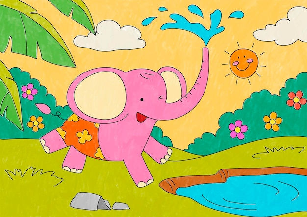 Pink elephant illustration, editable kids coloring page vector