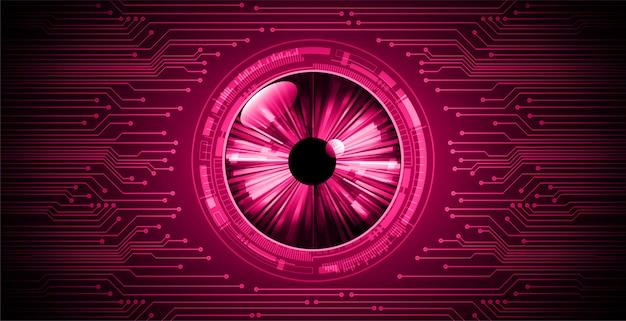 ピンクの目サイバー回路将来の技術コンセプトの背景