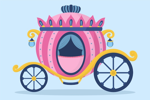 Pink fairy tale carriage illustration
