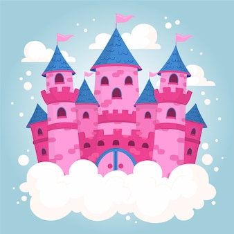 Pink fairy tale castle illustration