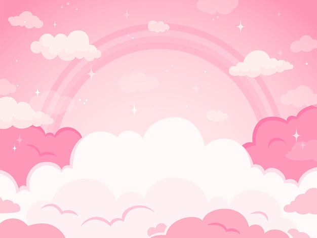 Pink fairytale sky background with stars and rainbow. white and pastel color clouds for imaginary world. fantasy, magic beautiful land background, evening fabulous sky vector illustration