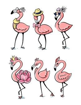 핑크 패션 플라밍고, 열대 이국적인 재미있는 새.