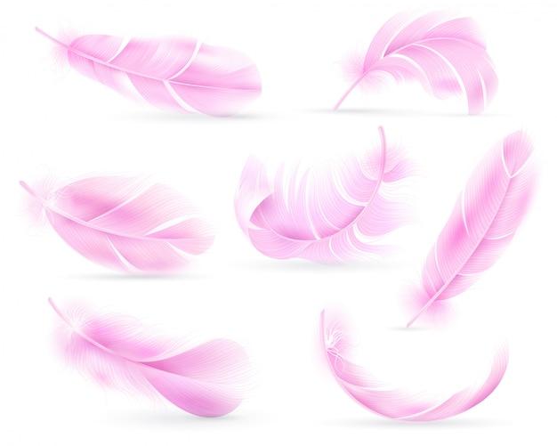 ピンクの羽。鳥や天使の羽、鳥の羽。飛んでいる綿毛、落ちているふわふわの回転するフラミンゴの羽。現実的なセット