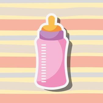 Pink feeding bottle baby stripes background