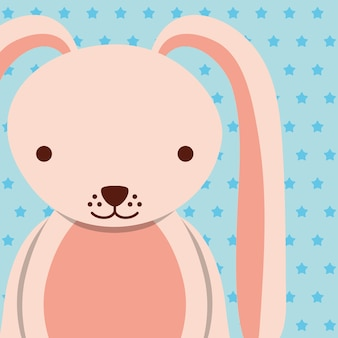 点在した背景とピンクの女性のウサギ