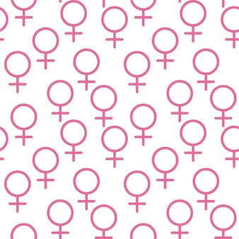 Pink female sign circle with a cross down belonging to the female gender
