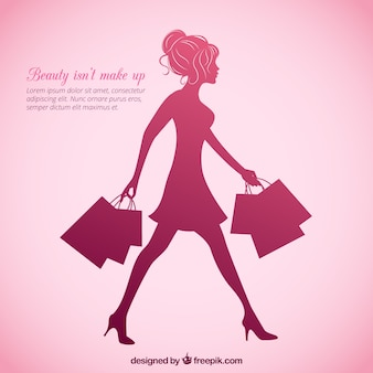 Pink female silhouette background