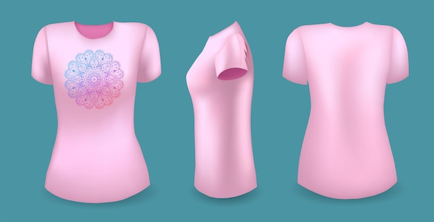 Pink female t shirt with mandala front back and side view vector