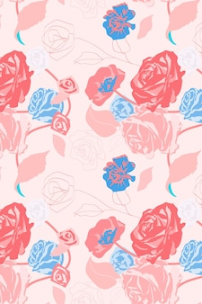 Pink feminine floral pattern vector with roses pastel background