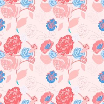 Розовый женский цветочный узор с розами пастельный фон