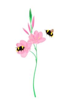 꿀벌과 핑크 필드 꽃