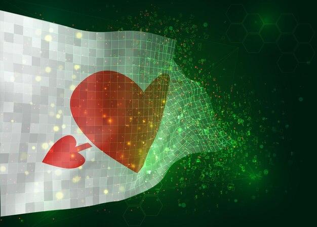 ポリゴンとデータ番号と緑の背景にベクトル3dフラグでバレンタインデーのハートとピンクの旗