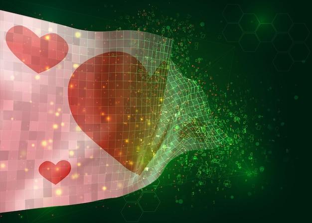 ポリゴンとデータ番号と緑の背景にベクトル3dフラグのバレンタインデーのハートとピンクの旗