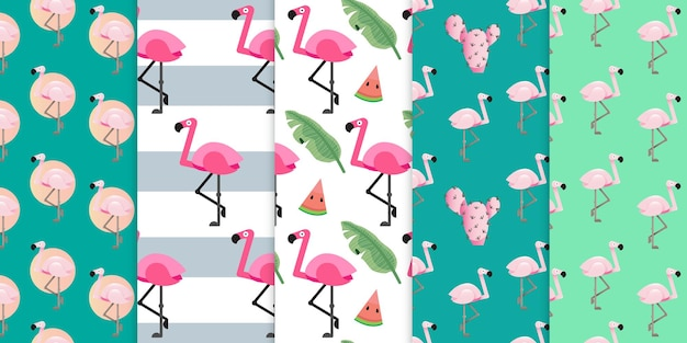 Pink flamingo bird and exotic beach trendy with geometric shapes seamless pattern premium vector
