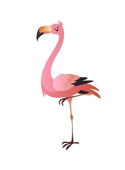 핑크 플라밍고. 귀엽고 다채로운 아름다운 정글이나 동물원 만화 새, 야생동물의 트렌디한 이국적인 프린트. 벡터 단일 고립 된 그림