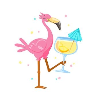 ピンクのフラミンゴを飲むカクテル