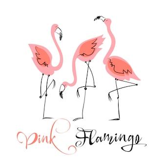 핑크 플라밍고. 귀여운 스타일의 재미있는 그림. 프리미엄 벡터