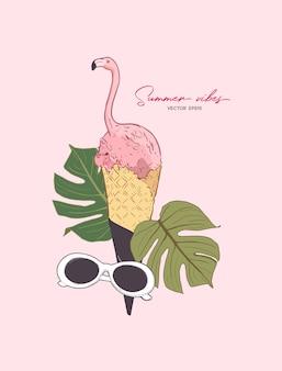 Розовый фламинго в конусе мороженого Premium векторы
