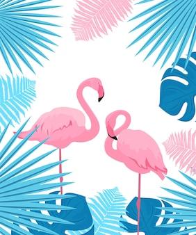 핑크 플라밍고. 야자수, 몬스테라, 고사리 잎. 여름 열대 포스터입니다.