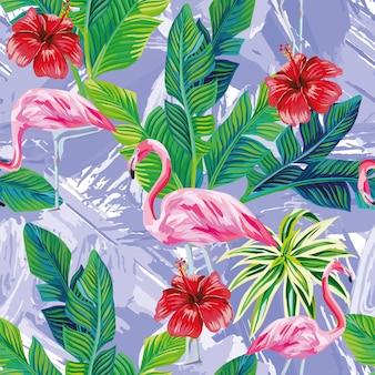 Pink flamingo leaves seamless pattern
