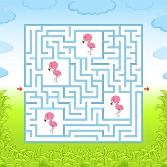 Pink flamingo maze. education game.