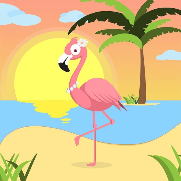 해변에 핑크 플라밍고