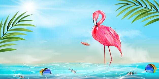 Pink flamingo, palm leaf and sea background