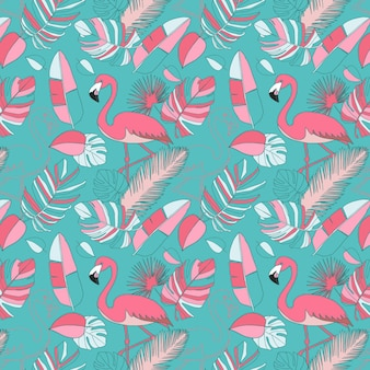 Pink flamingo pattern wallpaper