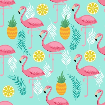 Pink flamingo, pineapples and exotic leaves seamless pattern