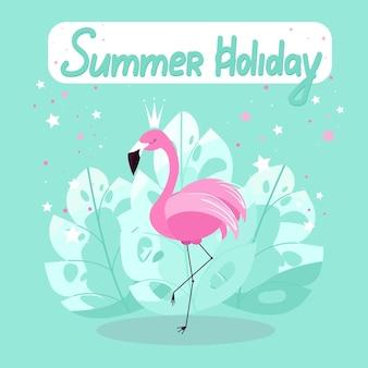 Розовый фламинго плакат для летних каникул фламинго на фоне пальмовых листьев вектора