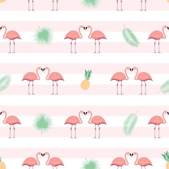 핑크 플라밍고 원활한 패턴 배경입니다. 삽화