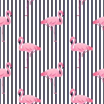 핑크 플라밍고 원활한 스트라이프 패턴입니다. 여름 열대 디자인.