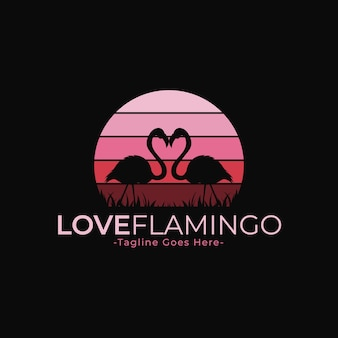 Pink flamingo silhouette logo template