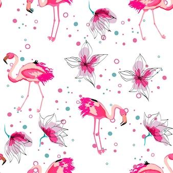 Розовый фламинго тропический цветочный бесшовный образец. цветы гибискуса с экзотическими птицами. гавайский фон с фламинго и тропическими растениями.