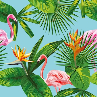 Pink flamingo tropical leaves and flowers pattern