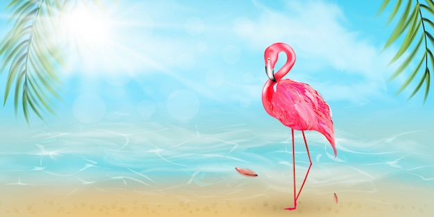 Розовый фламинго, акварель брызги, красочные краски капли. красивая иллюстрация открытка hello summer - иллюстрация