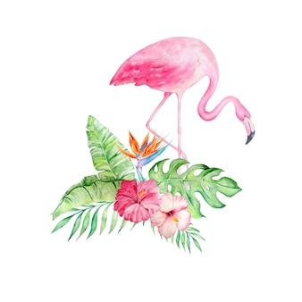 Розовый фламинго с цветами